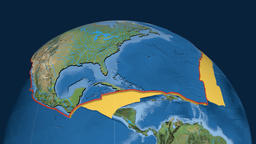 North America tectonic plate. Satellite imagery Animation