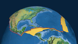 North America tectonic plate. Topography Animation