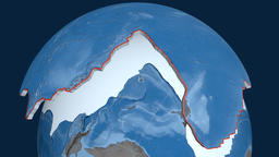 Pacific tectonic plate. Elevation and bathymetry Animation