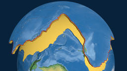 Pacific tectonic plate. Natural Earth Animation