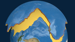 Pacific tectonic plate. Satellite imagery Animation