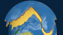 Pacific tectonic plate. Topography Animation