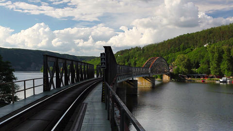 Single track railway bridge over the Vltava river Footage