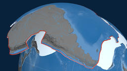 South America tectonic plate. Elevation and bathymetry Animation