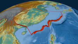 Yangtze tectonic plate. Relief Animation