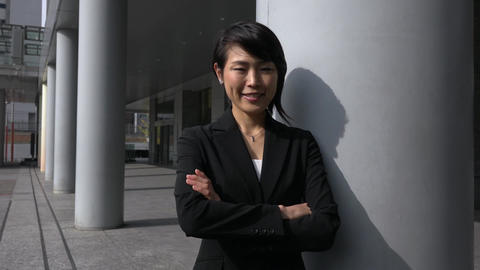 Success And Career For Young Asian Businesswoman Smiling At Camera Footage
