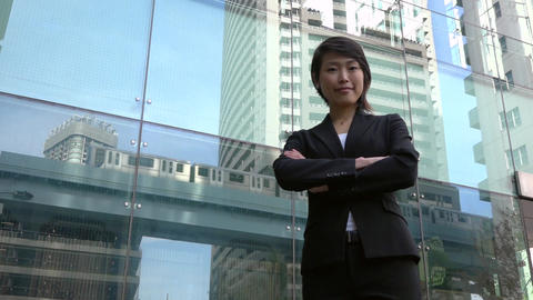 Successful Happy Successful Asian Business Woman Businesswoman Smiling At Camera Footage