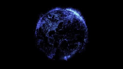 Hologram world map dot particle animation