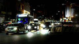 Traffic At Night In Buenos Aires Footage