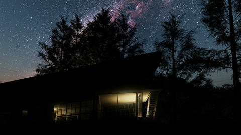 House and Milky Way stars at night. Elements of this image furnished by NASA Footage