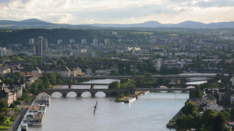 Koblenz Oldtown Moselle Bridges Time Lapse Stock Video Footage