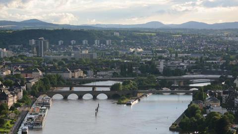 Koblenz Oldtown Moselle Bridges Time Lapse Footage