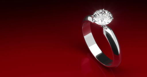 Diamond Ring on Red Background Animation