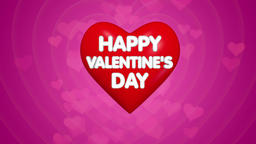 Happy Valentines Day title animation, text on the big red heart Footage