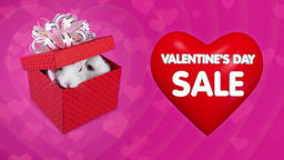 Red gift box with couple of bunnies, flying big red heart Footage