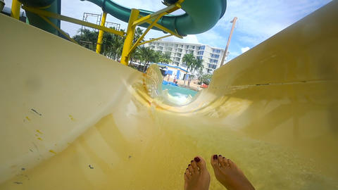Riding on aquapark slide Footage