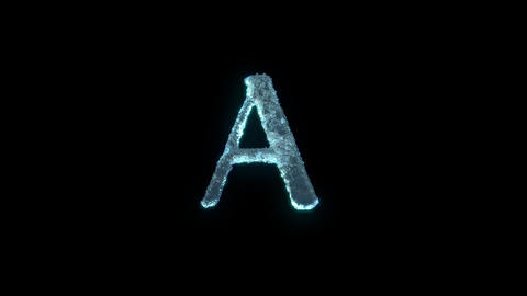 The Letter A Of Ice Isolated On Black With Alpha Matte Animation