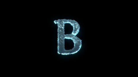 The Letter B Of Ice Isolated On Black With Alpha Matte Animation