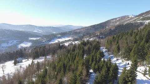 Winter in mountains. View from above. Szczyrk.Poland Footage