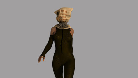 girl in a coffee sack masks walking,loop, animation, Alpha channe Animation
