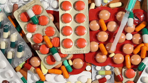 Pills, drugs and medicaments on a table Footage