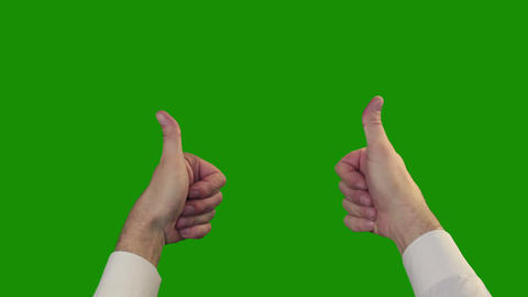 Thumbs up on the green Chroma Key Stock Video Footage