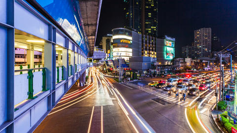 4k - TRAFFIC AT NIGHT - ASOKE BANGKOK TIME LAPSE Stock Video Footage