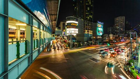 4k - TRAFFIC AT NIGHT - ASOKE BANGKOK TIME LAPSE Stock Video Footage