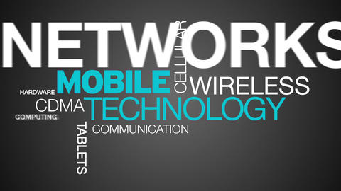 Mobile Technology Word Cloud Animation Stock Video Footage