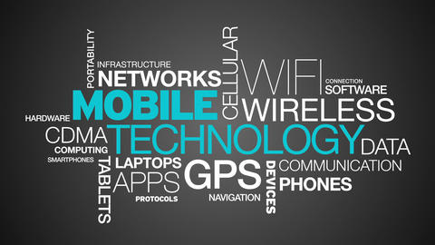 Mobile Technology Word Cloud Animation stock footage