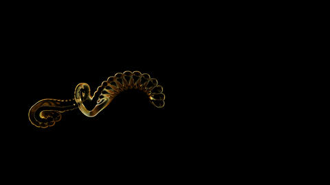flare metal grid chain shaped shine curve wire,golden fire dragon skeleton and r Animation
