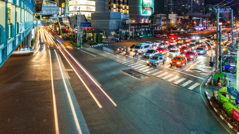 4k - TRAFFIC AT NIGHT - ASOKE BANGKOK TIME LAPSE stock footage