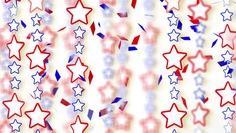 red blue stars and confetti loop background 4k Stock Video Footage