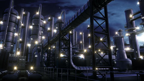 Chemical Plant at night Stock Video Footage