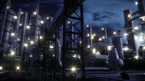 Chemical Plant at night Animation