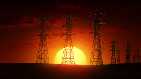 Electric power lines at sunrise Animation