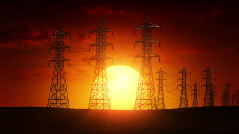 Electric power lines at sunrise Stock Video Footage