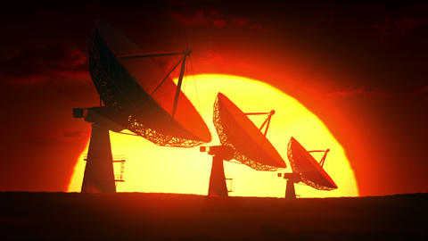Satellite dishes at sunrise Animation