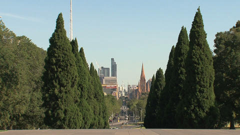 View from the Melbourne Shrine of Remembrance Stock Video Footage