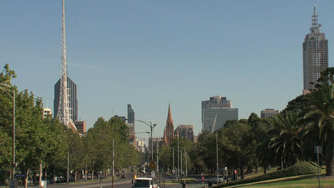 Downtown Melbourne street with St. Paul's Cathedral and... Stock Video Footage