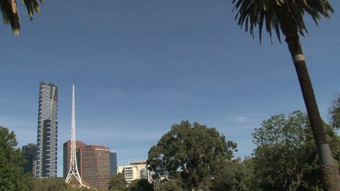 Victorian Arts Centre Spire and Eureka Tower Stock Video Footage