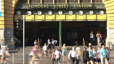 Flinders station close up Stock Video Footage