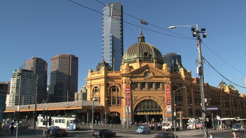 Wide shot from the Flinders station with trams Stock Video Footage
