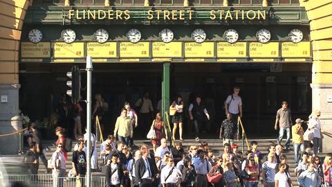 People leaving Flinders station Footage