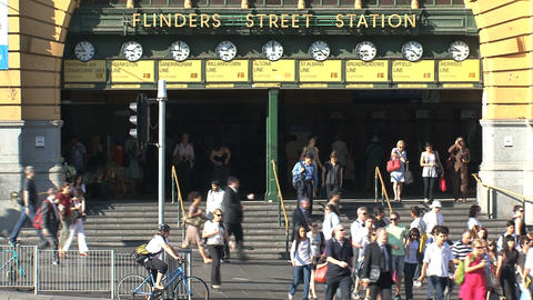 Trams infront of Flinders station Stock Video Footage
