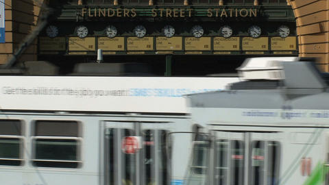Trams infront of Flinders station Footage