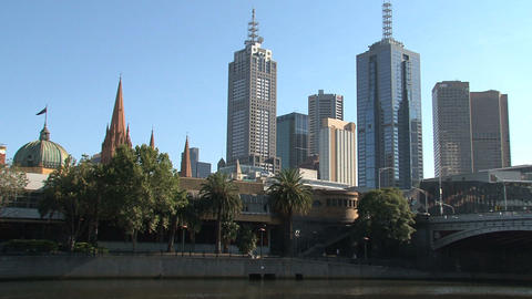 Yarra River downtown Stock Video Footage