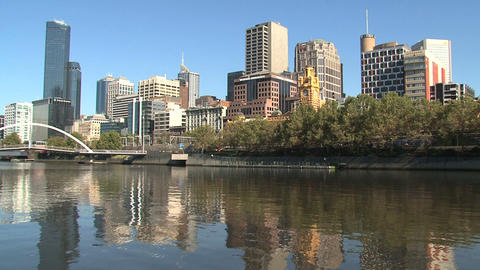 Skyline Melbourne with the yarra river Stock Video Footage
