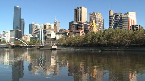 Skyline Melbourne With The Yarra River stock footage
