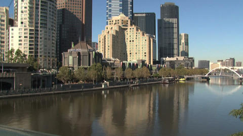 Eureka Tower Tilt To The Yarra River stock footage